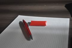 Paper and pen. Clear paper and pen. Good for background stock image