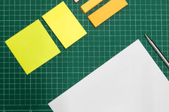 Paper and pen on cut sheets,office space background Stock Photo