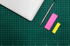 Paper and pen on cut sheets,office space background Stock Images