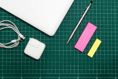 Paper and pen on cut sheets,office space background Royalty Free Stock Photo