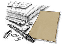 Paper with pen and flash drive office supply drawn Royalty Free Stock Photo