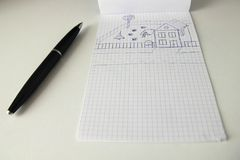 Paper and pen. Pen and paper with sketch royalty free stock photos