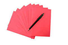 Paper and pencil. Digital photo of red paper and a pencil Royalty Free Stock Images