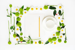 Paper, pencil and cup for coffee or tea with wreath frame. Royalty Free Stock Photos