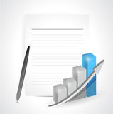 Paper pencil and graph. illustration design Royalty Free Stock Photo