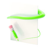 Paper and pencil with green path trace Stock Image