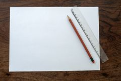 Paper, Pencil and Ruler Royalty Free Stock Images
