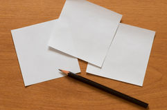 Paper and pencil. Stock Image
