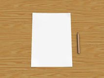 Paper and pencil on wooden table. White Paper and Pencil on a Wooden Table Royalty Free Stock Image