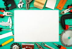 Paper with pencil and the working tool on wooden Royalty Free Stock Photo