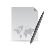 Paper and pencil and world map illustration Stock Photos