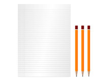 Paper and pencils Stock Photo