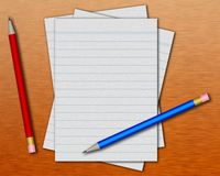 Paper and pencils. Blank lined pages and colored pencils on wood texture stock illustration