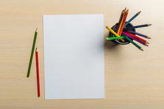 Paper with pencils Stock Photo