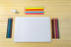 Paper with pencils Royalty Free Stock Photo