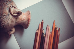 Paper and pencils Royalty Free Stock Images