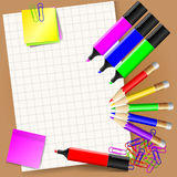 Paper pencils and markers 10 Royalty Free Stock Photo