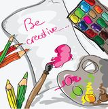 Paper, pencils and paints - hand drawn vector illustration Stock Image