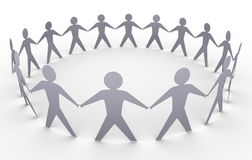 Paper people. 3d render of paper people in a circle Royalty Free Stock Images