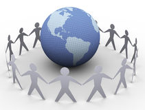 Paper people around globe. 3d render of paper people in a circle around globe Stock Image