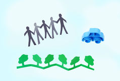 Paper people celebrating eco environment Stock Images
