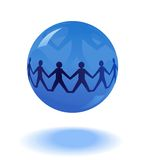 Paper people chain in blue globe Royalty Free Stock Photos