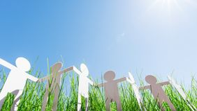 Paper people chain, ecology concept royalty free stock photos