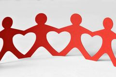 Paper people chain - Love concept. Paper people chain - Unity and love concept Stock Photography