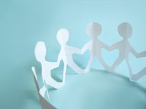 Paper people in a circle. Team  Stock Photos