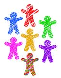 Paper people colored with markers isolated on white background Stock Photos