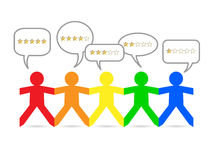 Paper People Gold Stars. Cut out paper people with gold star ratings in speech bubbles vector illustration