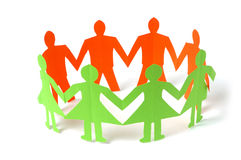 Paper people holding hands Stock Image