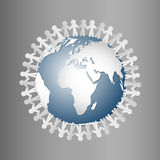 Paper People Holding Hands Around Globe Stock Photos