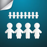 Paper People Holding Hands. On Blue Background Stock Photography