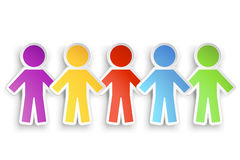 Paper people. Illustration of different color paper people group with shadow Royalty Free Stock Photos