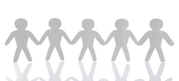 Paper people over white background Stock Photos