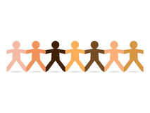 Paper People Skin Tones. Paper chain cut out people in different skin tone colors vector illustration
