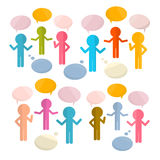 Paper People with Speech Bubbles Royalty Free Stock Photos