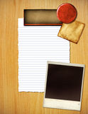 Paper and photo layout. A paper and photo collage background Royalty Free Stock Images