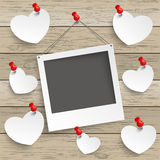 Paper Photoframe Hearts Thumbtack Wood. Paper photoframe and hearts with tacks on the wooden background royalty free illustration