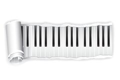 Paper Piano Key. Illustration of torn paper piano keypad rolled in white background Stock Image