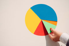 Paper pie chart. Hand putting last piece of paper pie chart Stock Images