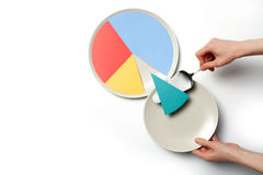Paper pie chart on a plate. Concept illustration of a pie chart on a plate, one segment is served Stock Photos
