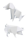 Paper_pig_dog. Illustration of folded paper models, pig and dog on white background, Vector illustration Royalty Free Stock Photography