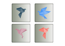 Paper pigeons and doves icons set  Royalty Free Stock Photos
