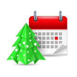 Paper pine tree and calendar Royalty Free Stock Images