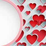 Paper pink border circle banner background with hearts valentine Royalty Free Stock Photography