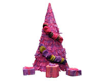 Paper pink Christmas tree Stock Image