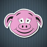Paper Pink Pig Head. On Blue Cardboard Stock Photography