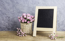Paper pink rose flowers and blank black board Stock Image